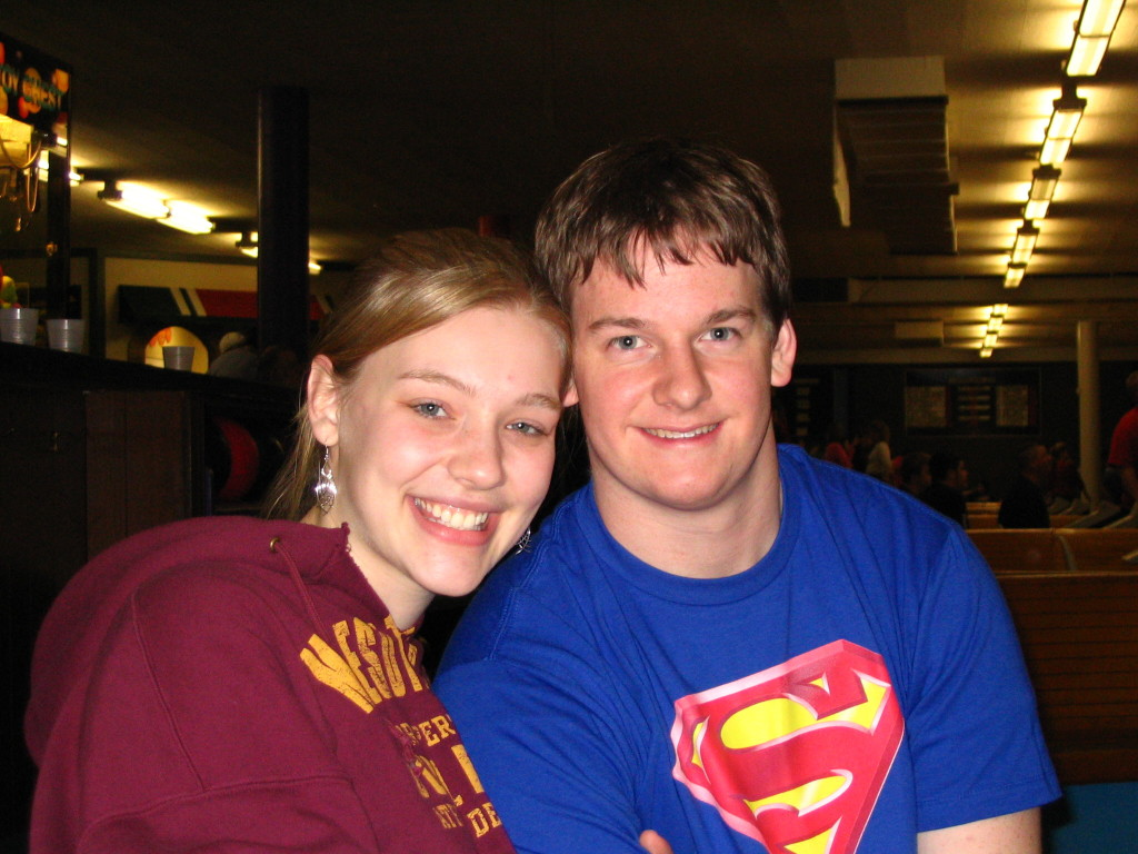 Ben and I during a serious game of bowling sophomore year of college.