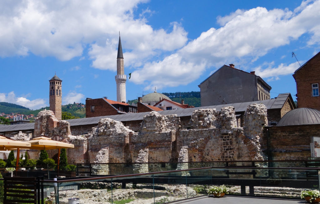 A mineret and cathedral bell tower; a small sample of the religious diversity that Sarajevo has to offer.