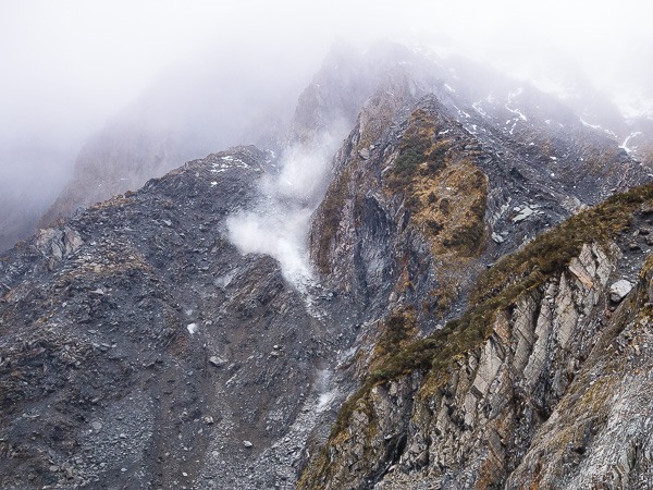 The cloud of dust in this photo is actually a rockfall happening. We saw several rock falls and an avalanche of ice and snow on the glacier while we were there.