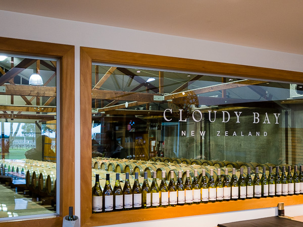 The view from the tasting room at Cloudy Bay.