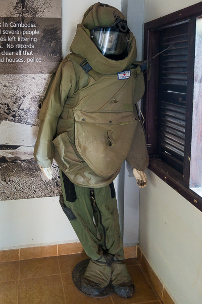 The protective suit that Aki Ra and his team wear to remove the mines and UXOs.
