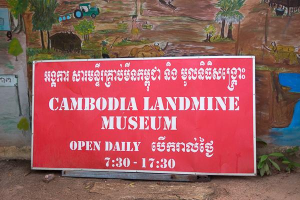 Landmine museum sign