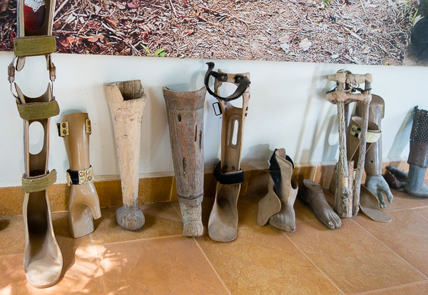 The very real impact of landmines in Cambodia. We saw prosthetic legs and arms made out of bamboo, wood, plastic, and many other items. Although, most victims of landmines that we saw during our time in Cambodia didn't wear prosthetics.