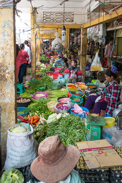 This market in Battambang, Cambodia showcases the colorful and fresh produce available at markets throughout Southeast Asia.