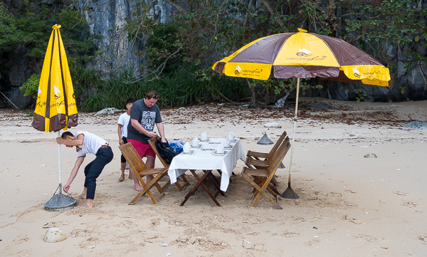 Lunch setup on our private beach.