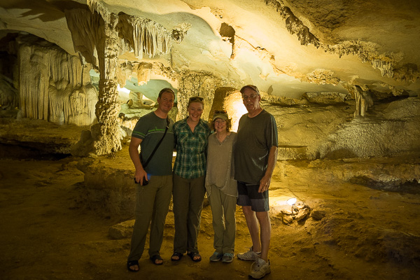 A family photo inside the cave.