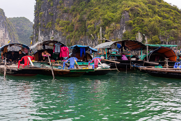 A few of the homes left in the fishing village in Halong Bay.