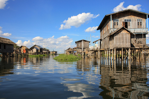 A community of traditional stilt houses in Inle Lake, Myanmar.