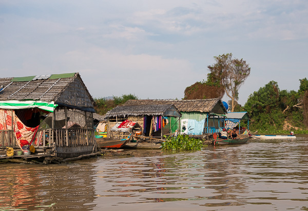 A few of the hundreds of houses that make up the floating village near Kampong Chhnang in Tonle Sap Lake.